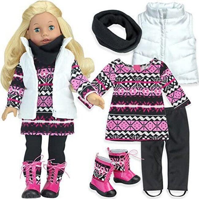 18'' Doll Knit Print Dress, Leggings, Scarf, Vest & Boots Set, Pink