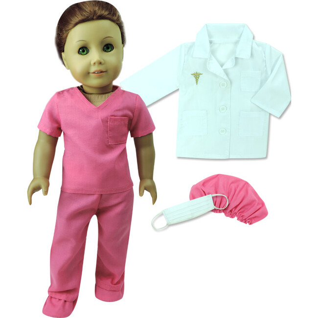 18'' Doll Fuchsia Doctor Scrubs & Lab Jacket Set, Hot Pink