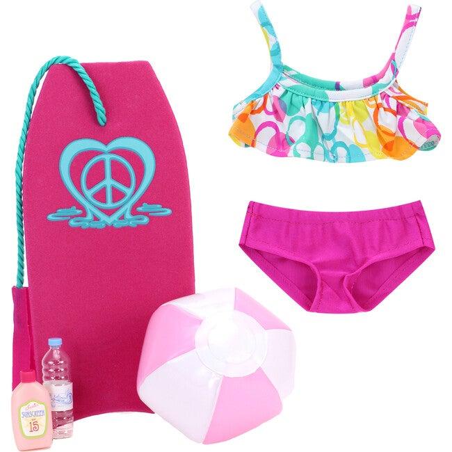 18'' Doll Bubble Bikini, Boogie Board, Beach Ball, Water & Suntan Lotion