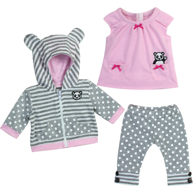 "15"" Doll Panda Bear Hooded Sweatshirt, Tunic & Polka Dot Leggings, Light Pink"