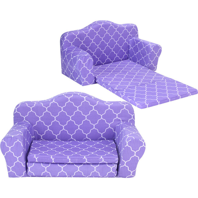 18'' Doll Print Pull Out Sofa Double Bed, Purple