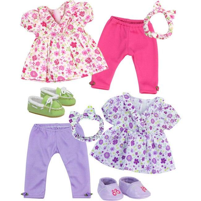 "15"" Doll Floral Top, Leggings & Headband Set, Purple"
