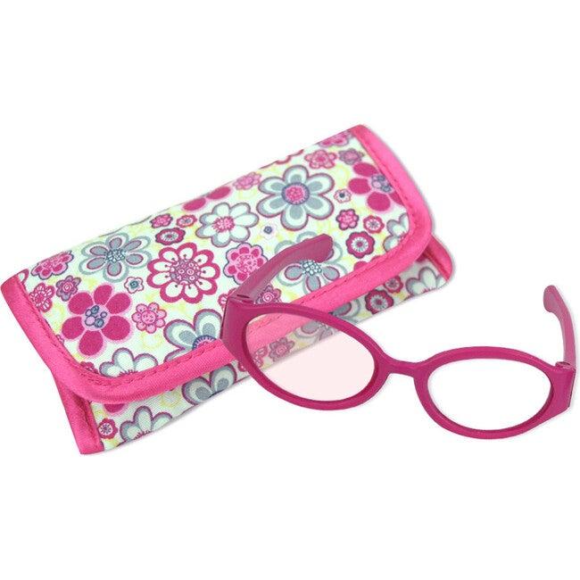 18'' Doll Flower Print Flap Case & Hot Pink Plastic Eyeglasses Set, Hot Pink