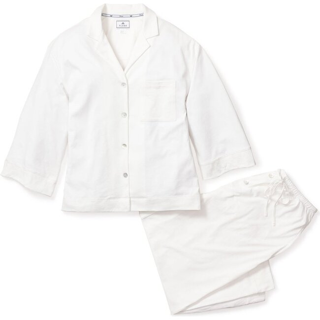 Women's Wide Leg Pajama Set, White