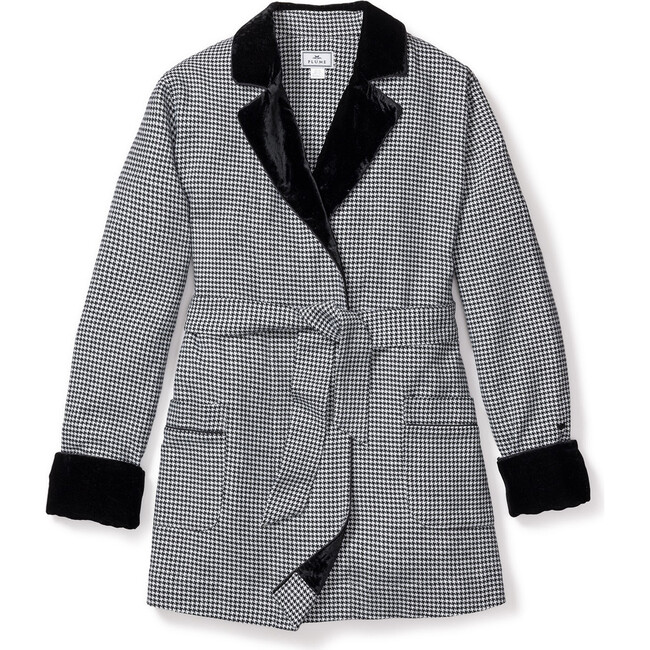 Women's Car Coat With Velvet, West End Houndstooth - Pajamas - 1