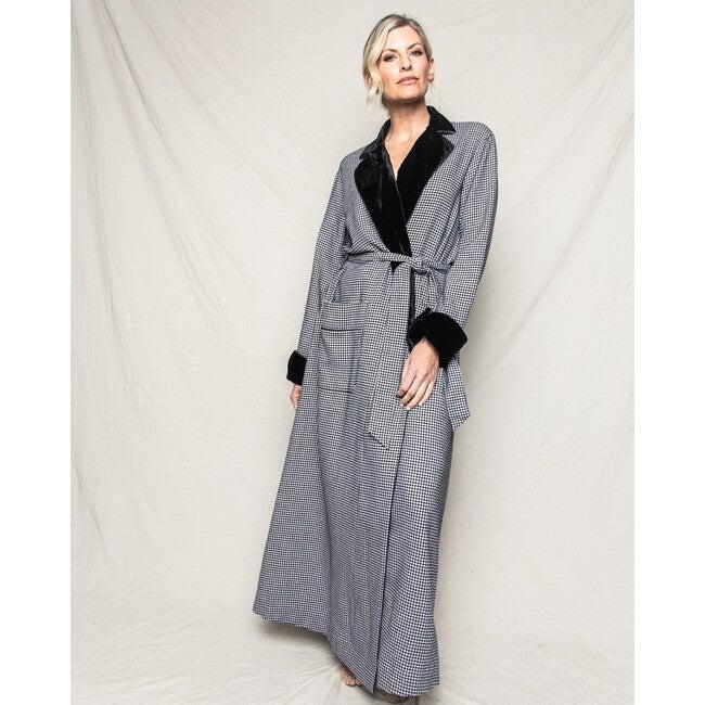 Women's Long Velvet Robe, West End Houndstooth