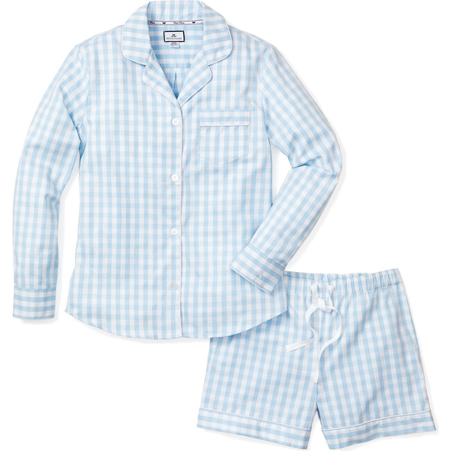 Women's Long Sleeve Short Set, Blue Gingham - Pajamas - 1
