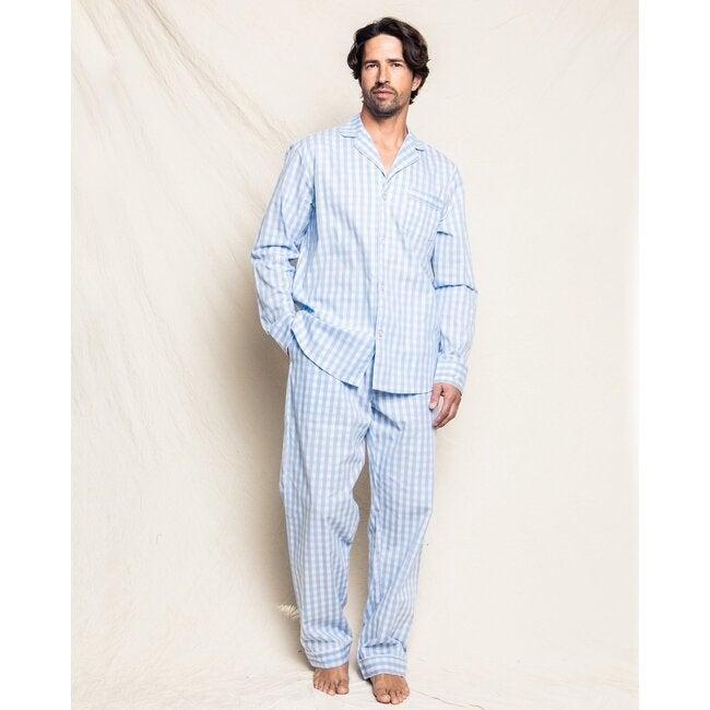 Men's Pajama Set, Light Blue Gingham