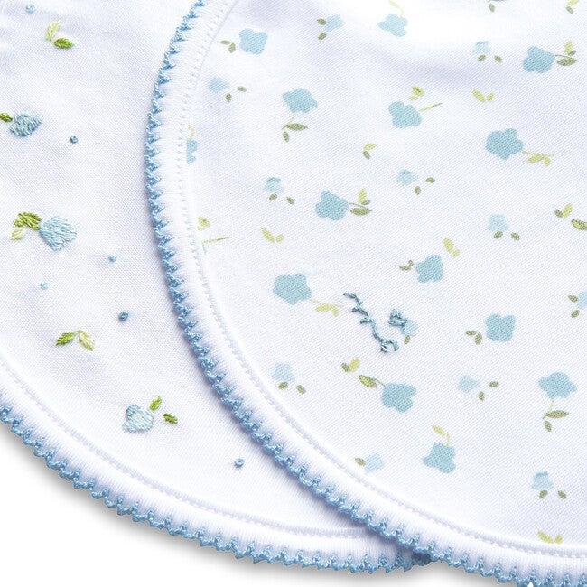 Bloom Wind Print and Embroidered Bib Set, Blue