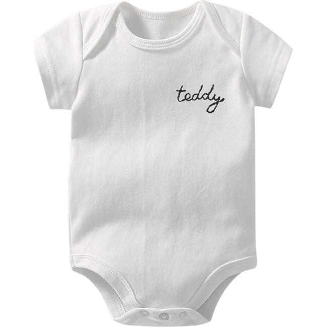 My Name is! Embroidered Bodysuit, White