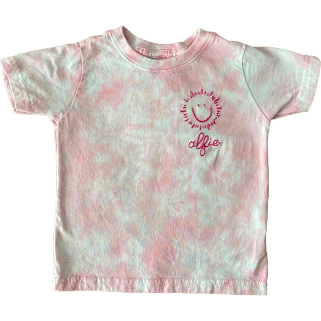 Embroidered My Sunshine Name Tee, Pink Tie Dye