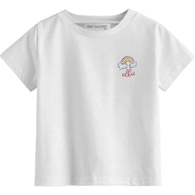 Embroidered Rainbow Name Shirt, White