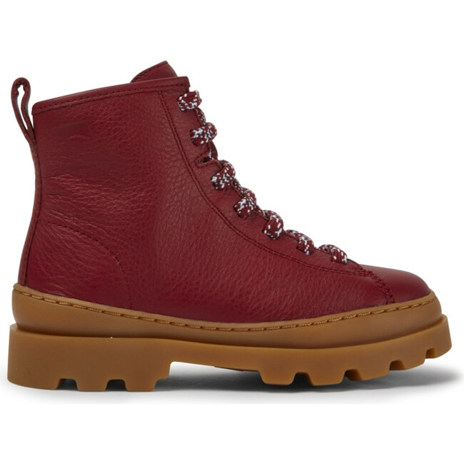 Kids Brutus Leather Lace Up Boot, Red