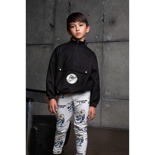 Quarter Zip Jacket, Black Denim