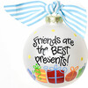 Friends Are The Best Presents Glass Ornament, White - Ornaments - 1 - thumbnail