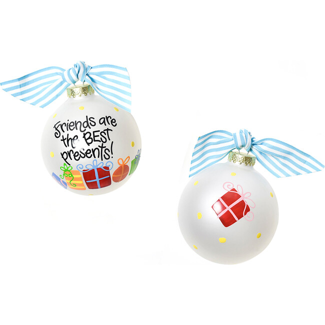 Friends Are The Best Presents Glass Ornament, White