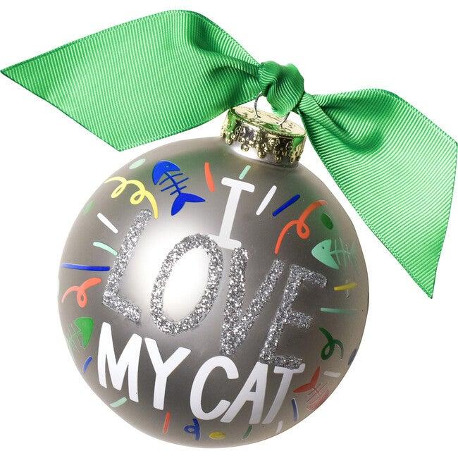 I Love My Cat Popper Glass Ornament, Silver - Ornaments - 1