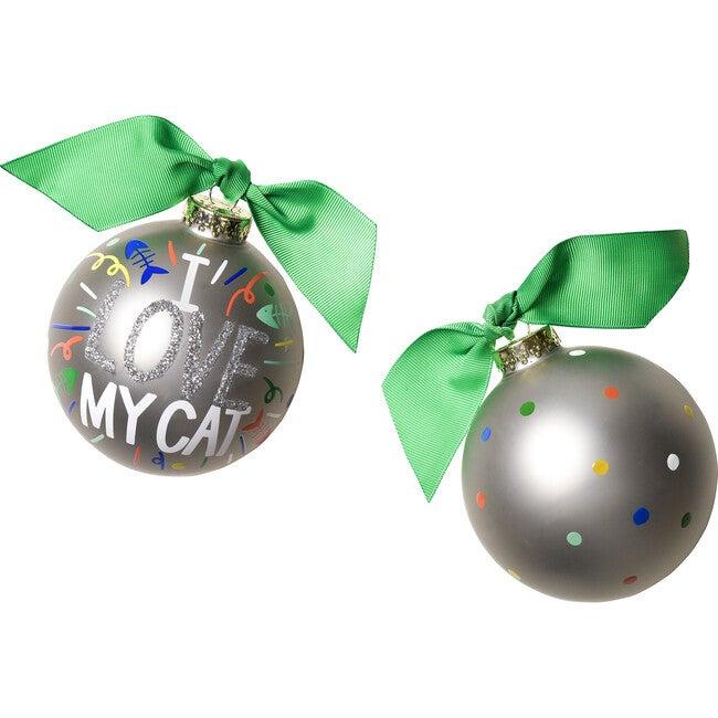 I Love My Cat Popper Glass Ornament, Silver