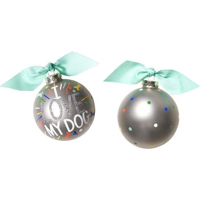 I Love My Dog Popper Glass Ornament, Silver