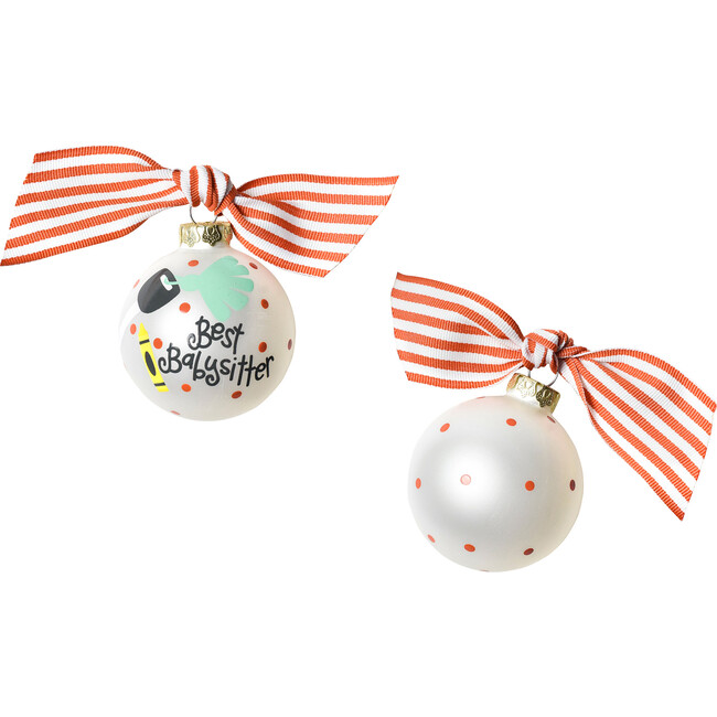 Babysitter Glass Ornament, White