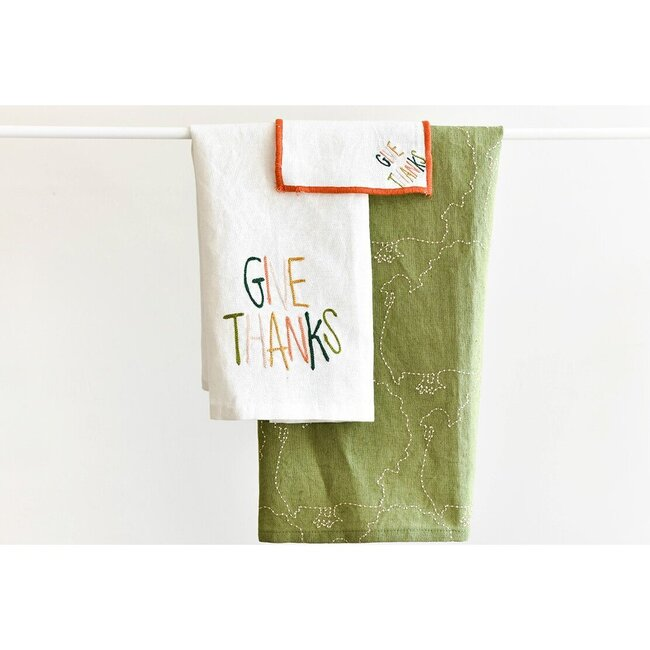 Small Give Thanks Hand Towel, White