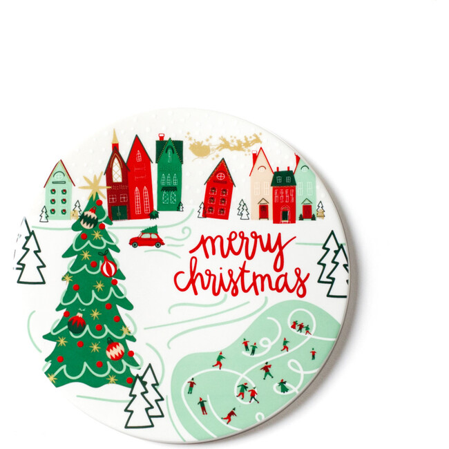 Christmas in the Village Town Round Trivet, Multi