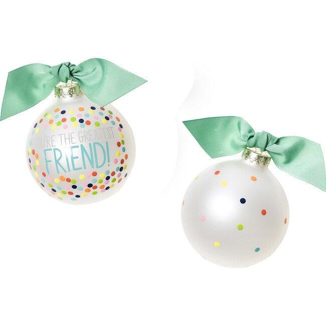 Greatest Friend Bright Confetti Glass Ornament, White