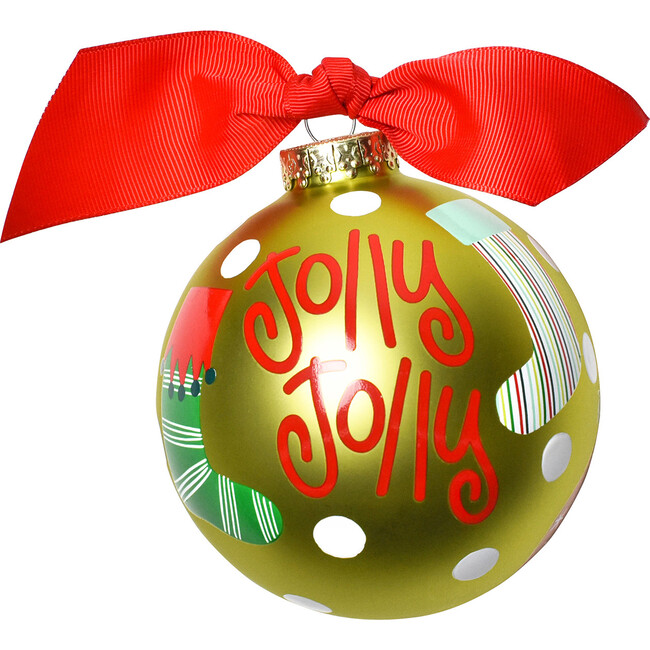 Jolly Jolly Stockings Glass Ornaments, Green