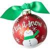 Snowman Let it Snow Glass Ornament, Red - Ornaments - 1 - thumbnail