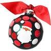Ho Ho Ho Santa Glass Ornament, Brown Skin, Green - Ornaments - 1 - thumbnail