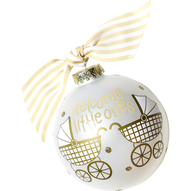 Welcome Little Ones Glass Ornament, White - Ornaments - 1