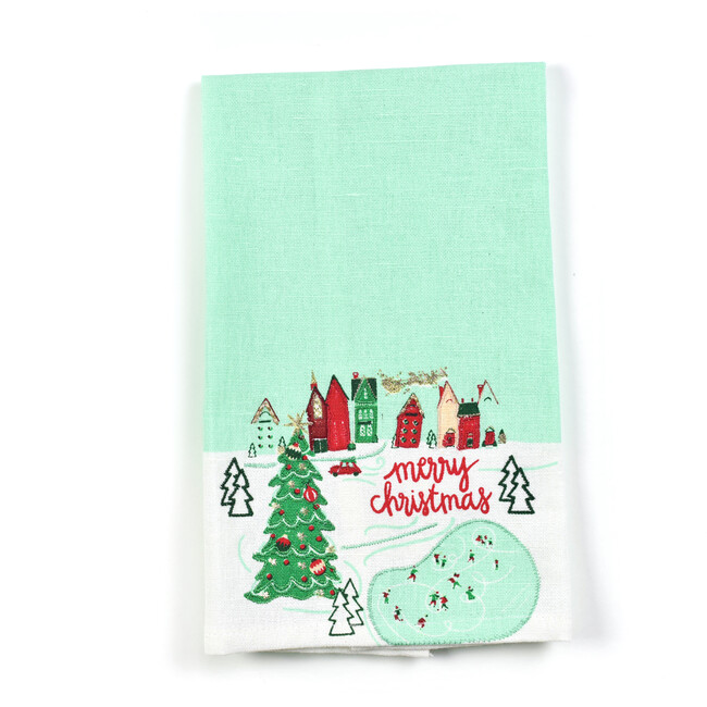 Smalll Christmas in the Village Town Hand Towel, Multi
