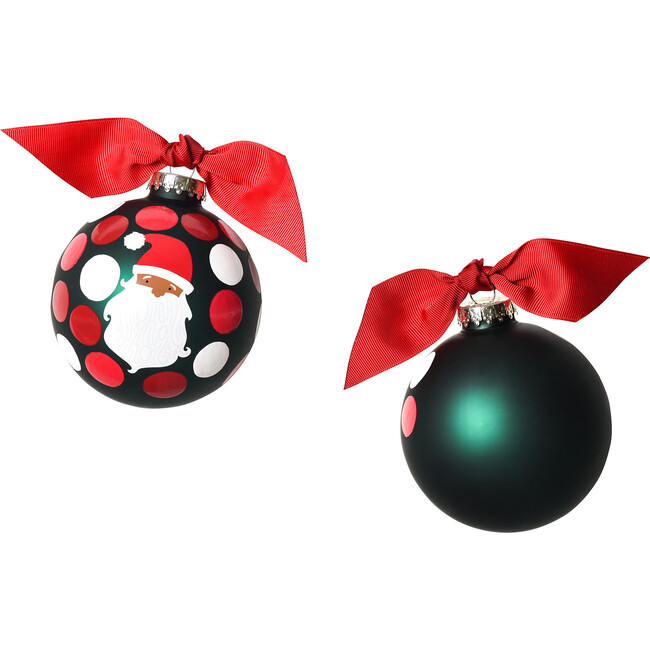 Ho Ho Ho Santa Glass Ornament, Brown Skin, Green