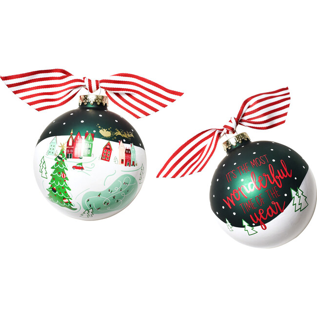 Town Square Glass Ornament, Red