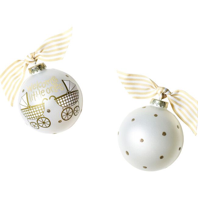 Welcome Little Ones Glass Ornament, White