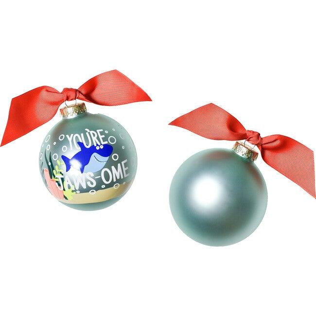 Shark Glass Ornament, Blue