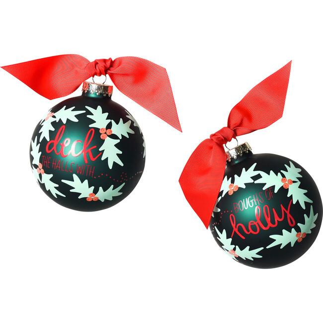 Boughs of Holly Glass Ornament, Green
