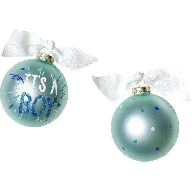 It's A Boy Popper Glass Ornament, Blue