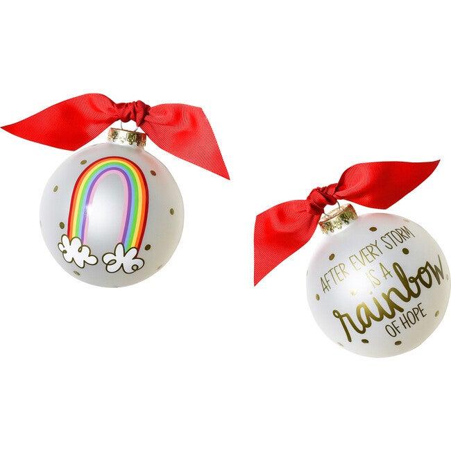 Rainbow of Hope Glass Ornament, White