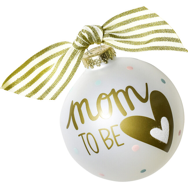 Mom To Be Glass Ornament, White