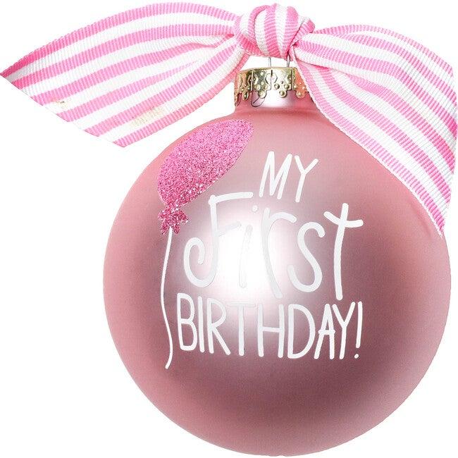 My First Birthday Girl Glass Ornament, Pink