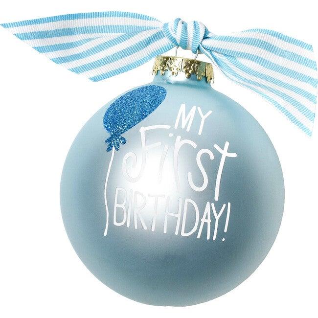 My First Birthday Boy Glass Ornament, Blue - Ornaments - 1