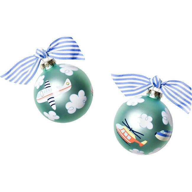 Around The World Plane Glass Ornament, Blue