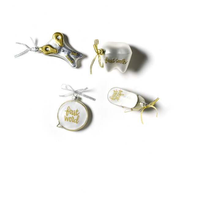 Set of 4 Baby's First Milestones Glass Ornaments, Silver - Ornaments - 1