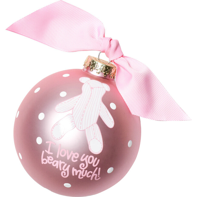 I Love You Beary Much Girl Glass Ornament, Pink - Ornaments - 1