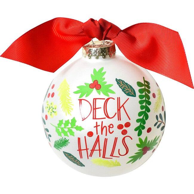 Deck The Halls Glass Ornament, White