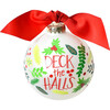 Deck The Halls Glass Ornament, White - Ornaments - 1 - thumbnail