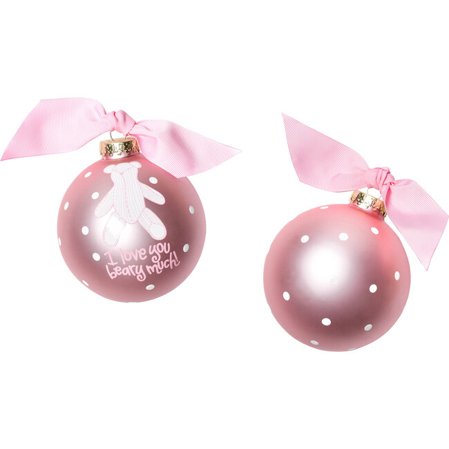 I Love You Beary Much Girl Glass Ornament, Pink