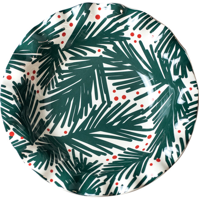 Balsam and Berry Ruffle Bowl, Green