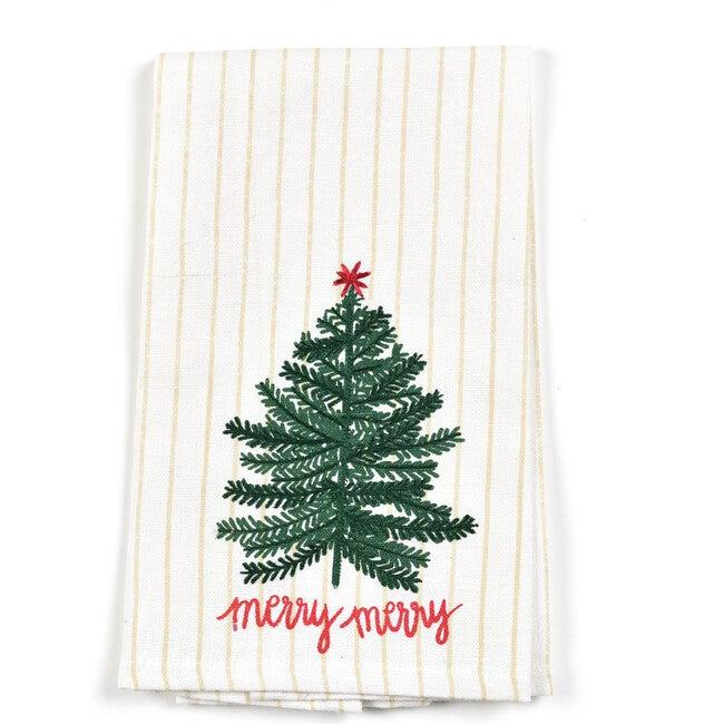 Small Balsam & Berry Tree Hand Towel, Cream Stripe